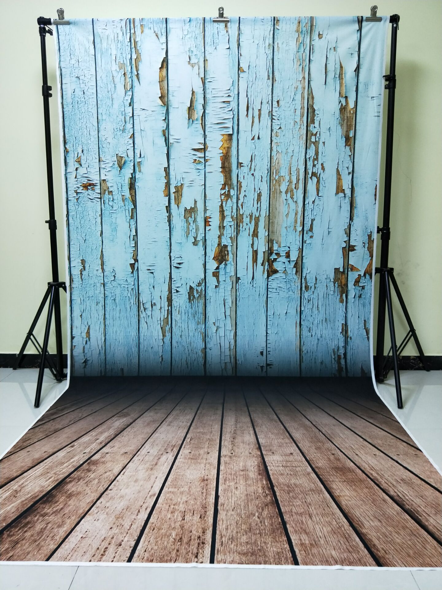 HUAYI 5x10ft Cotton Polyester Blue Wood Floor Photography Backdrop Washable Photo Studios Baby Props Background KP-372