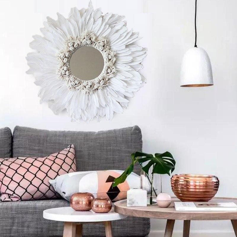 INS style fait main tapisserie plume verre miroir décoratif mur art miroir
