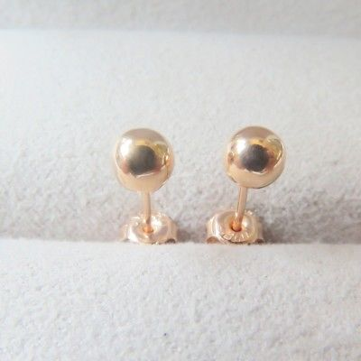Solid 18K Rose Gold Stud Earrings 4mm Shiny Ball Stud Earrings Au750Solid 18K Rose Gold Stud Earrings 4mm Shiny Ball Stud Earrings Au750