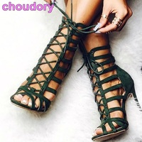 Newest Lace Up Women Footwear Green Hollow Out Stiletto Heel Peep Toe Sandals Thin Strappy Elegant
