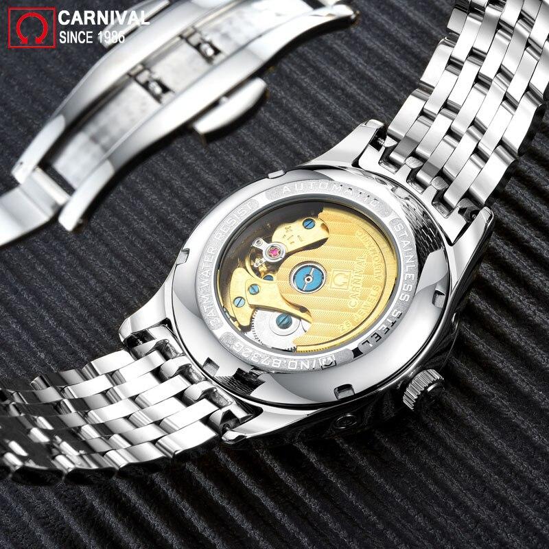 Carnival 2018 Golden Automatic Watch Men Stainless Steel Mechanical Watches Moon Phase Luminous Hands Mens Clock erkek kol saati