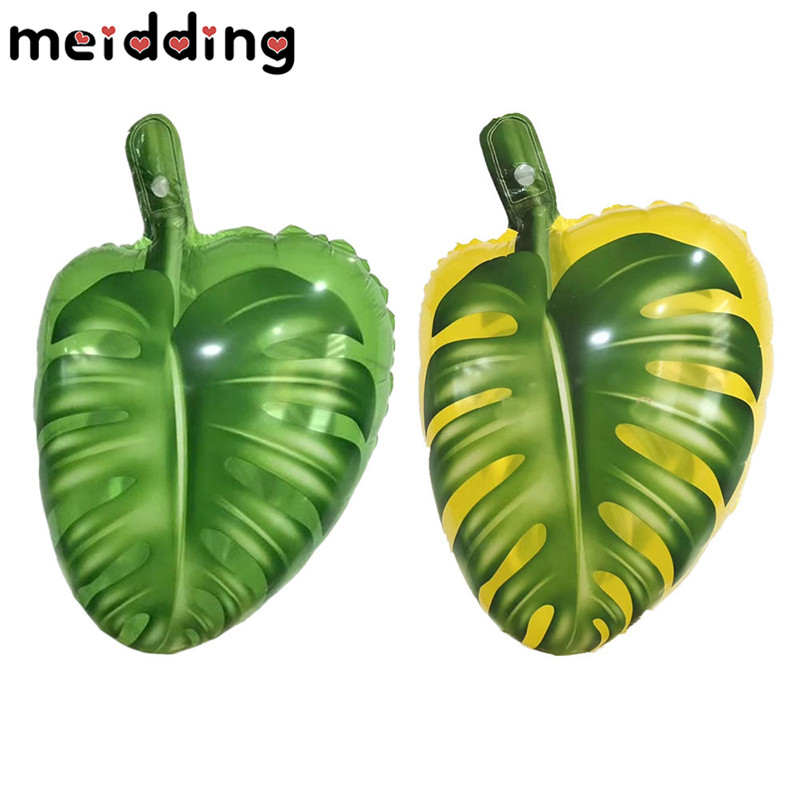MEIDDING 1pcs Green Leaf Balloon Tropical Party Decoration Artificial Foliage Inflatable Balloons Hawaiian Pool Party Supplies
