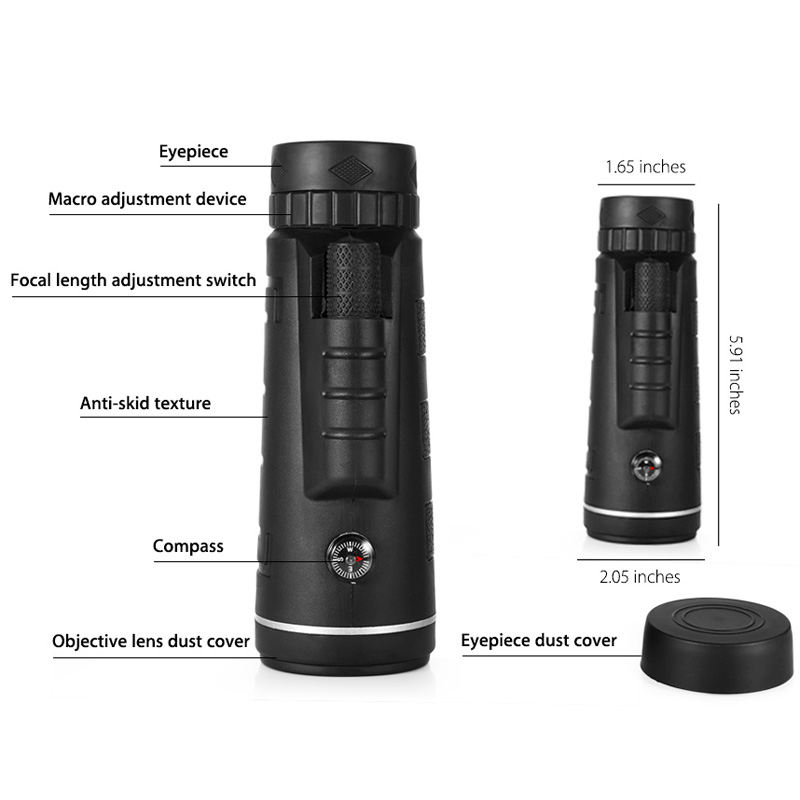Lens for phone 40X60 Zoom for Smartphone Monocular Telescope Scope Camera Camping Hiking Fishing with Compass Phone Clip Tripod 6