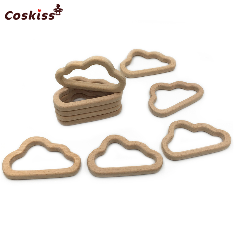 Organic Baby Teether Wooden Oblique Cloud Teether Natural Teething Grasping Toy Baby Shower Gift Toddler Teether Newborn Gift