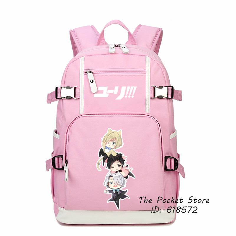 Top Quality Anime YURI on ICE Yuri Katsuki Victor Nikiforov Printing Backpack Cosplay School Bags for Girls Women Shoulder Bags yuri on ice figure cosplay katsuki yuri victor nikiforov yuri plisetsky pvc figure phone strap keychain pendant toys