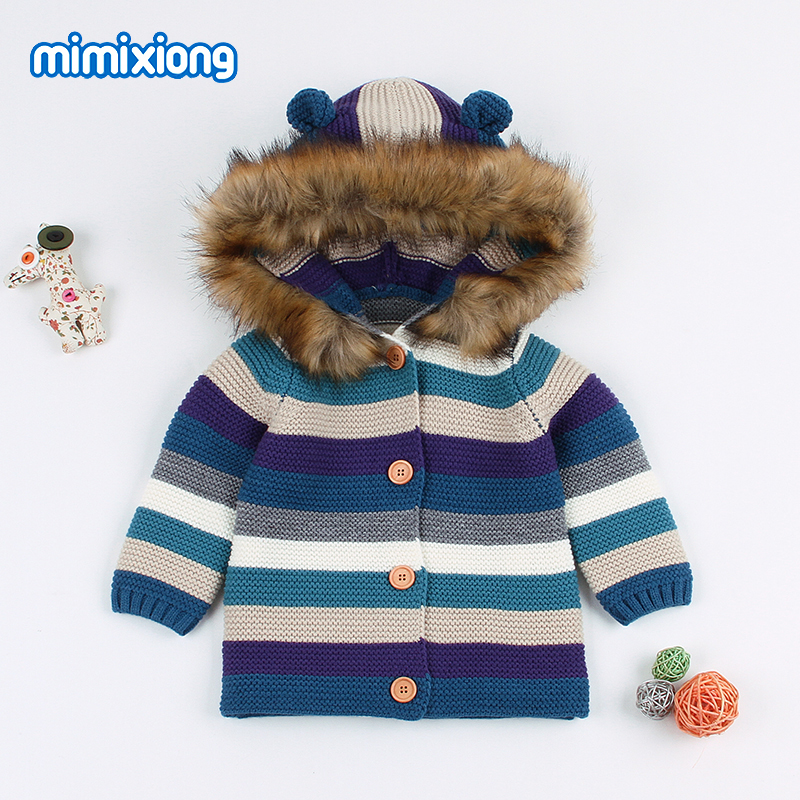 Baby Girl Winter Sweater Cardigans Clothes Autumn Stripe Knitted Newborn Boys Fur Jackets Coats Toddler Infant Knitwear Top 2018 v neckline fur cuff sweater