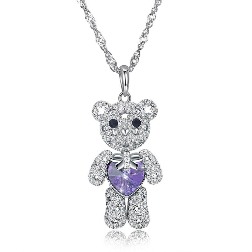2018 Brand Trendy Cubic Zirconia Crystal Bear Pendant Necklace Sterling Silver Glam Women Jewelry Lovely Wanita Cantik Bijoux