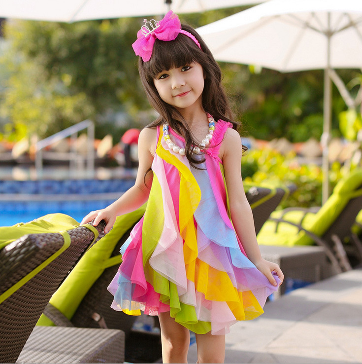 Girls summer rainbow dresses kids colorful strap sleeveless dress baby girl princess clothes for party and wedding children 2-8T baby girls party dress 2017 wedding sleeveless teens girl dresses kids clothes children dress for 5 6 7 8 9 10 11 12 13 14 years