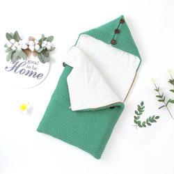 Детские спальные мешки для новорожденных; теплые халаты; 75*35 см; пеленка для младенцев; спальный мешок; зимняя однотонная вязаная одежда для ...