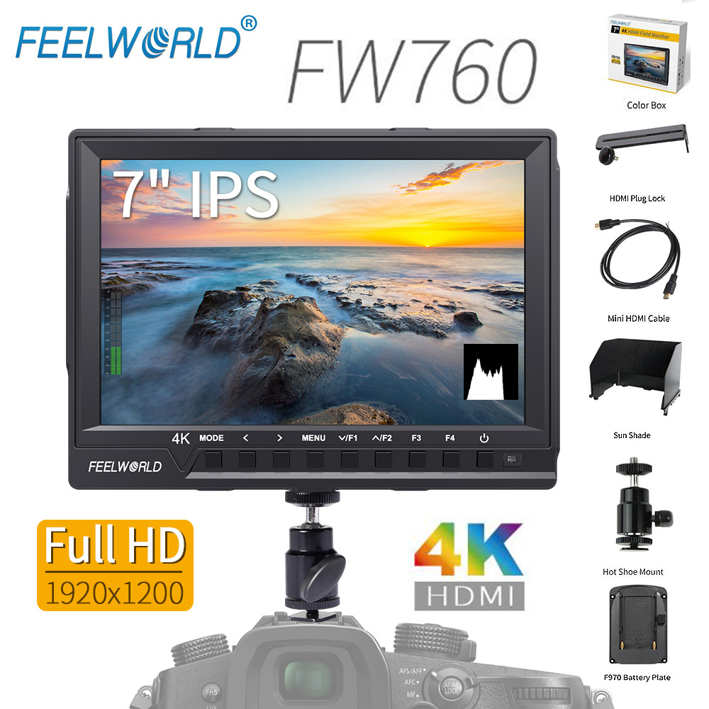 Feelworld FW760 7 Inch IPS 4K HDMI Camera Monitor for DSLR Video Full HD 1920x1200 with