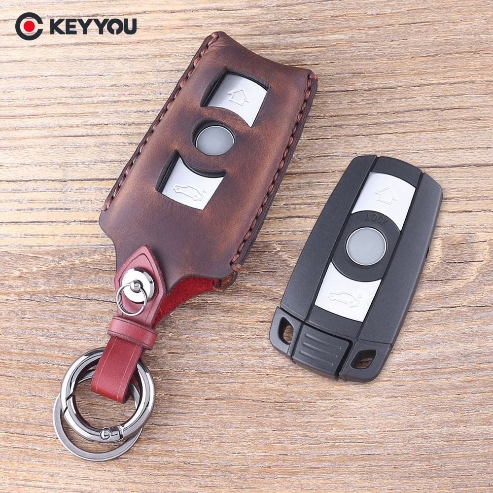 KEYYOU 3 Button Remote Key Case For BMW 1 3 5 6 Series E90 E91 E92 E60 Smart Key Shell Blade Fob Leather Keychain Key Bag atobabi e60 e90 leather key fob cover cases for starline e60 e90 e63 e93 e95 e66 e96 lcd remote controller keychain transmitter