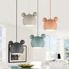 220v 110v Modern Nordic Designer Round Iron Pink White Hanging Pendant Light Lamp For Loft Decor Kitchen Children Dining Room