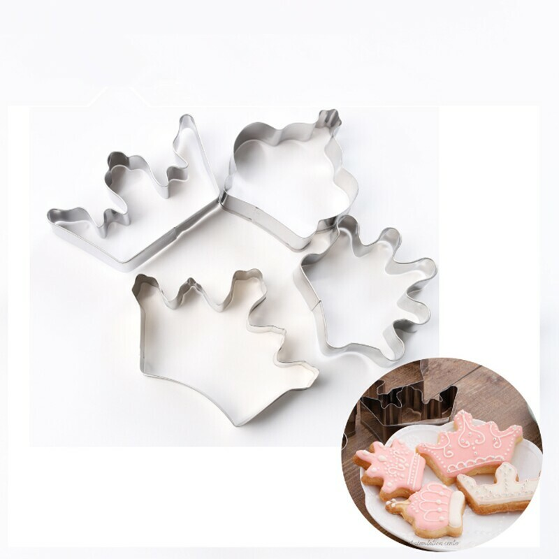 4pcs/lot Crown Shape Cookie Cutter Cake Decorating Fondant Cutters Tool Cookies Stainless Steel Biscoito