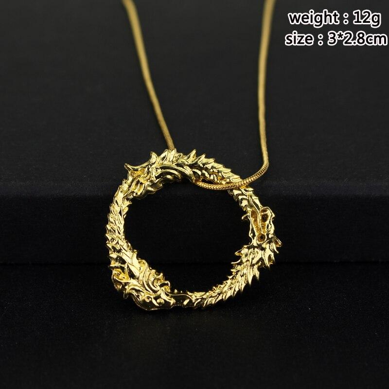Fashion Jewrly Dragon Skyrim Elder Scrolls Gold Halskette Tritium - Modeschmuck - Foto 5