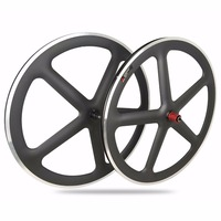 CRATIC Cool Style 700C Full Carbon 5 Spokes Clincher Wheels Road Bike Wheelset with Aluminum Brakes 3k Matte Finished