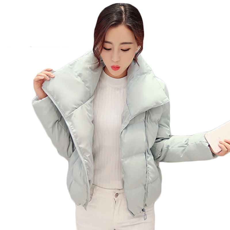 Korean New Style Woman Winter Short Coat Warm Stand Collar Zipper Padded Jacket fashion Bread Short Quilted Outerwear SS625 2016 new european fashion woman winter duck down jacket stand collar warm coat cool color patchwork outerwear streetwear a3424