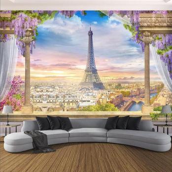 Gewohnheit Irgendeine Größe Foto Tapete 3D Stereo Rom Spalte Paris Turm Wandmalereien Restaurant Wohnzimmer Schlafzimmer Hintergrund Wand Dekor 3 D