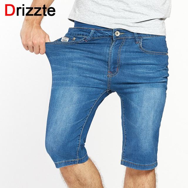 2cc12c9366f Drizzte Mens Casual Stretch Blue Lightweight Denim Shorts Men Jeans Summer  Jean Mens Shorts Plus Size