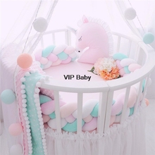 Cute Baby Braided Crib Bumpers Knot Pillow Cushion Nursery Bed Set Room Dector Baby Crib Protector Bed Backrest Fourply 1M 2M