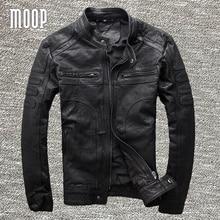 Black genuine leather jacket coat men 100% goatskin motorcycle jackets chaqueta moto hombre veste cuir homme cappotto LT953