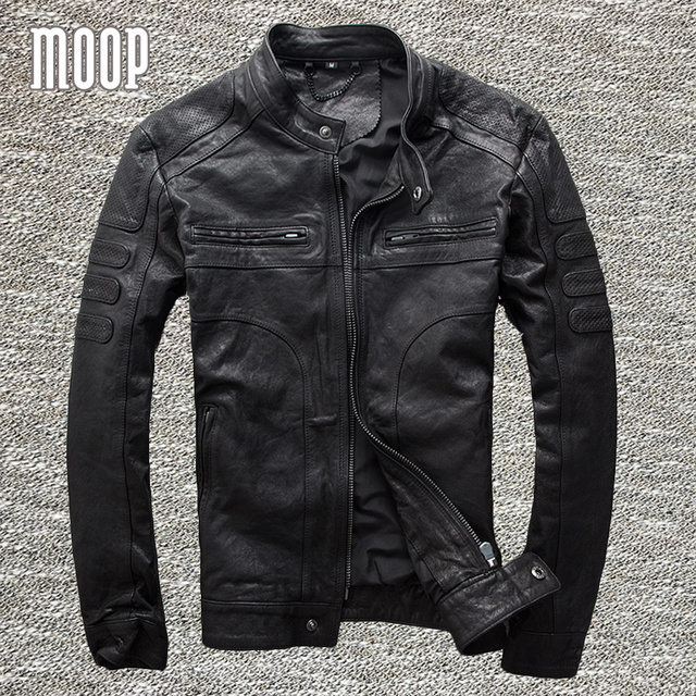 977cca8b63dc2 Black genuine leather jacket coat men 100% goatskin motorcycle jackets chaqueta  moto hombre veste cuir homme cappotto LT953