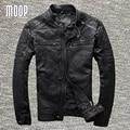 Capa de la chaqueta de los hombres de cuero genuino negro 100% chaquetas chaqueta de moto de piel de cabra moto hombre veste cuir homme cappotto lt953