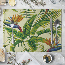 цена на Placemat Table Mat Tropical plants Floral Printed For Tables Heat-insulation Linen Kitchen Dining Pads