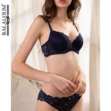BALALOUM Sexy Push Up Floral Lace Bra Briefs Sets Transparent Panties Comfortable Brassiere Underwear Lingerie BLUE