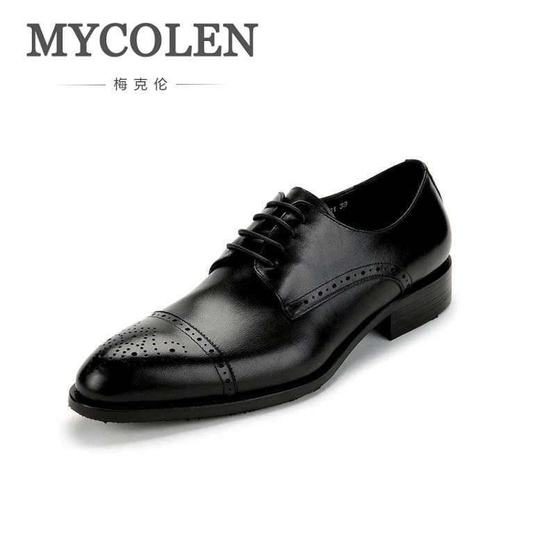 MYCOLEN Genuine Leather Pointed Toe Mens Shoes Brogue Breathable Carved For Men Formal Wedding Dress Shoes Zapatos Hombre mens genuine leather oxfords shoes for men breathable stitching dress shoe british style casual flats oxford pointed toe zapatos