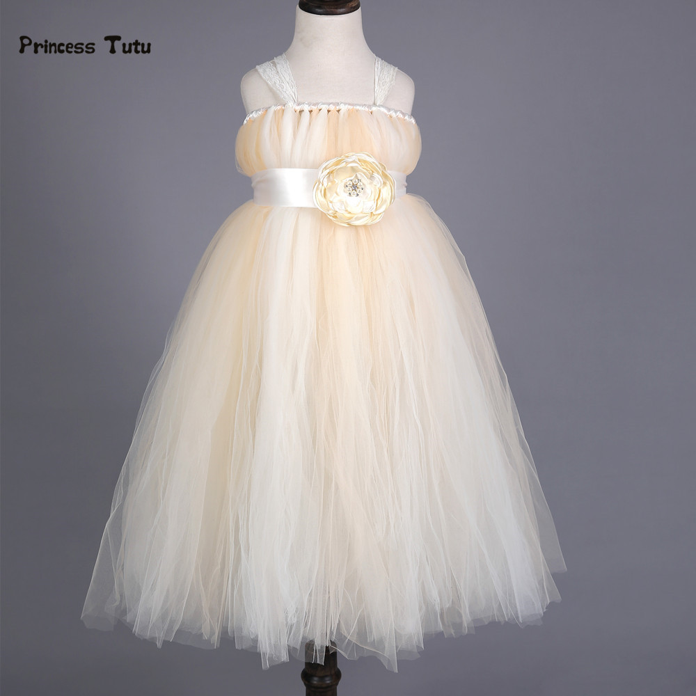 New Flower Girl Dress Baby Wedding Bridesmaid Lace Tulle Princess Girls Formal Dress Handmade TuTu Dress Kids Party Pageant Gown 2017 kids girls wedding flower girl dress princess party pageant formal dress crossed back sleeveless lace tulle dress 2 14y