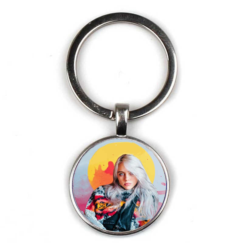 Fashion hip hop singer Billie Eilish keychain charm Harajuku art poster glass keyring door carkey accessories fans favorite gift