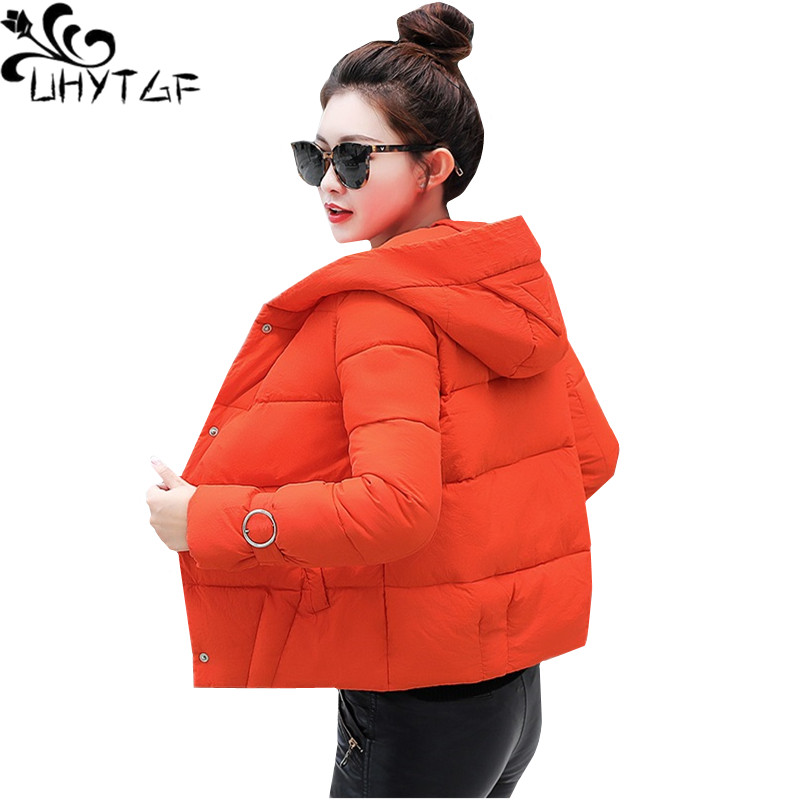 UHYTGF   Parka   Women Winter Outerwear Short Down Jacket Hooded Warm Coats Bread service Windproof Down cotton Plus size Coat 898