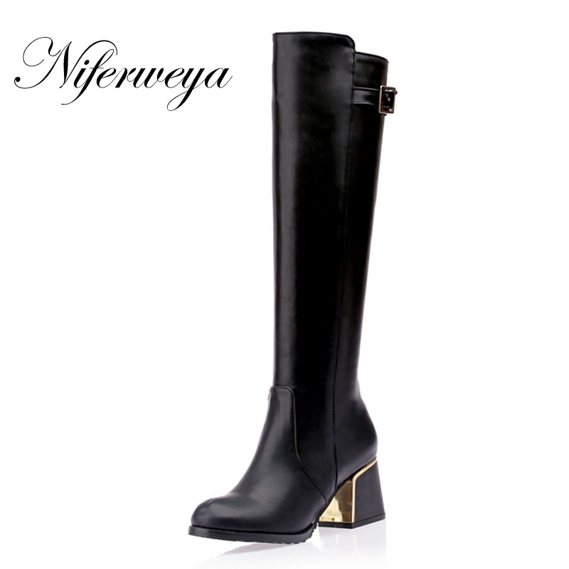 цена на 2016 Fashion winter women shoes big size 30-50 round toe buckle decoration high heels Knee-High boots small 30 31 32 33 HQW-A18