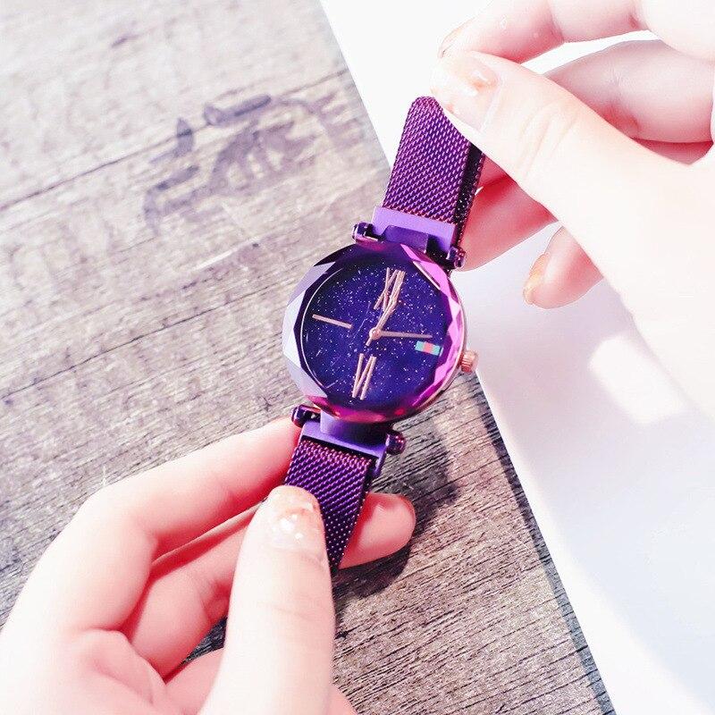 Women Casual Watches Black Stylish Starry Sky Magnet Buckle Elegant Lady Watch Fashion Hot Women Gift