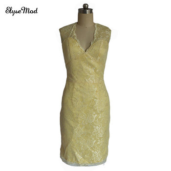Robe Longue Femme Soiree Sheath Real Photo V-Neck Yellow Lace Cap Sleeves Open Back Mini Cocktail Party Dresses 2017