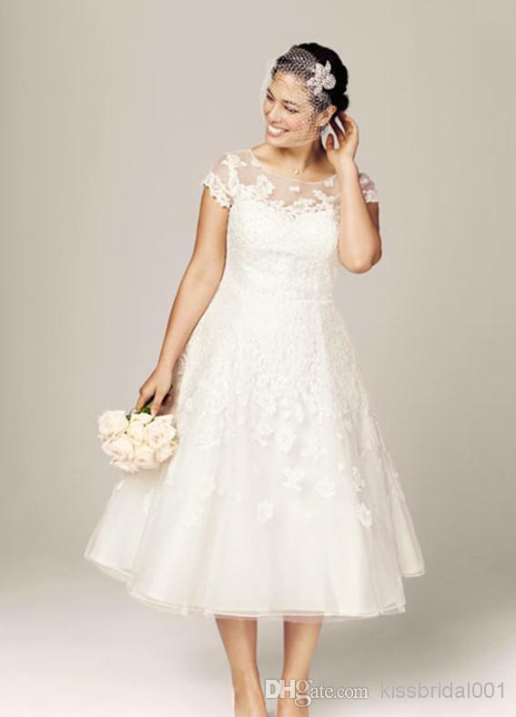 Popular Plus Size Wedding Dresses with Sleeves Tea Length-Buy ...