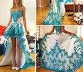Vestidos De Festa 2017 Prom Dresses Long Sweetheart Sleeveless Zipper Hi-Lo Chiffon with Applique Asymmetical Evening Dresses