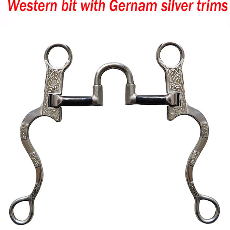 125 MM Stainless Steel Horse Bit Kimberwicke Bit Solid Jointed Mouth Snaffle Antique Western Silver Decoration Horse Equipment