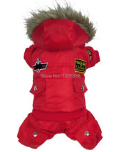 Red USA Airman Style Pet dogs Coat Warm Small Dog Apparel Fleece Winter Coat Snowsuit Hooded Jumpsuit Waterproof