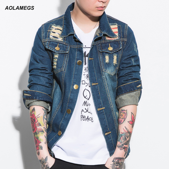 dc3a6c592b1 Aolamegs Men s Denim Jackets Male Ripped Jeans Jackets Coats Men Frayed  Vintage Coats HIP-HOP Brand Slim Fit Cotton Denim Tops