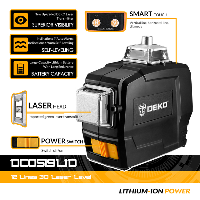 DEKO DC Series 12 Lines 3D Green Laser Level Horizontal And Vertical Cross Lines With Auto Self-Leveling, Indoors and Outdoors 3