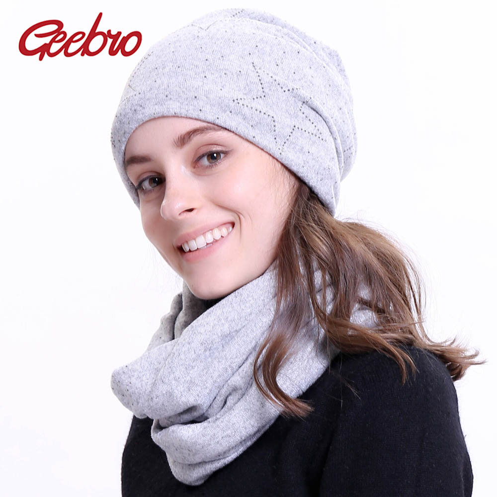 Geebro Women's Beanie And Scarf Set Winter Warm Polyester Star Rhinestones Slouchy Beanies For Women Wide Ring Scarf For Female
