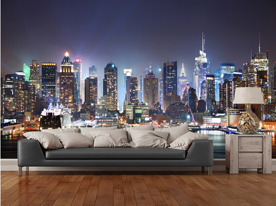Custom black and white retro wallpaper,New York Manhattan Skyline,3D ...