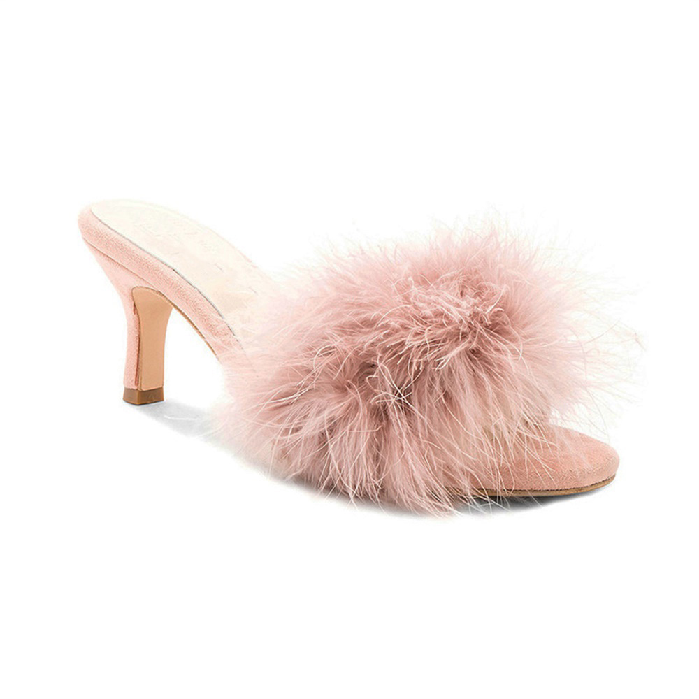 New Fashion Summer Autumn Fluffy Fur Women Mules Round Open Toe Sandals 6 5 Cm Stiletto Heel Slippers in Slippers from Shoes