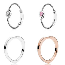 925 Sterling Silver Ring Rose Gold Color Heart Shape Women Fashion Crystal Chain For Jewelry