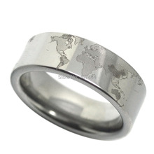 Free Shipping USA UK Canada Russia Brazil Hot Sales 8MM Silver Pipe Unique World Map Design The Lord Mens Tungsten Wedding Rings