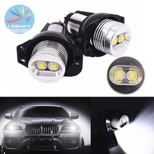 цена на Pair 20W 2*10W LED Marker Angel Eyes Halo Ring Light w/CREE Chips Car Flashlight Bulb Fog Lamp For BMW E90 E91 05-08 325i 328i