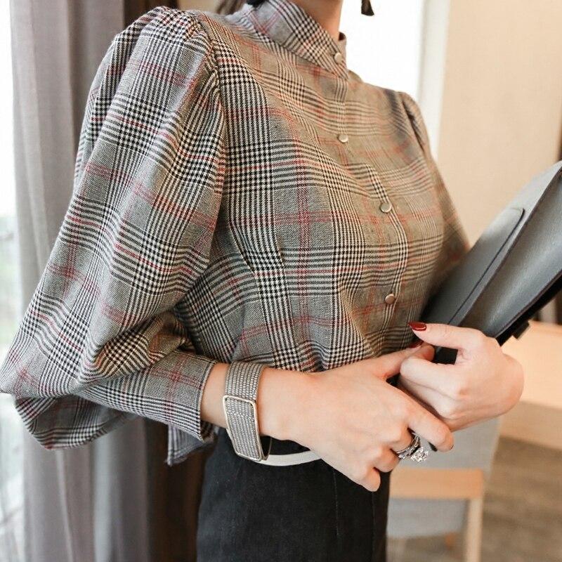 560a66dd6 2019 الكورية منقوشة بلوزة المرأة زائد حجم blusas عودة القوس الوقوف طوق  البلوزات قمم قميص فانوس كم أنيقة مكتب بلوزة