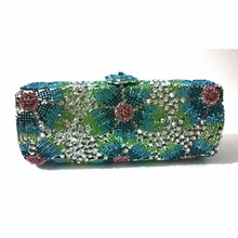 8218H colorH Crystal Flower Floral Fashion Wedding Bridal hollow Metal Evening purse clutch bag case box handbag