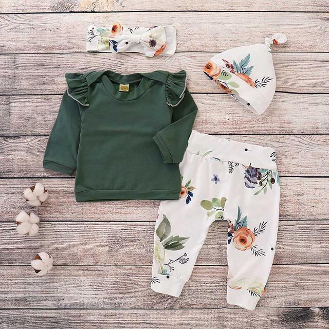 MUQGEW Baby Girls Boys Clothes 4PCS Toddler Baby Girls Floral Print Top Pants Cap Headband Ruffles Outfits Set roupa infantil